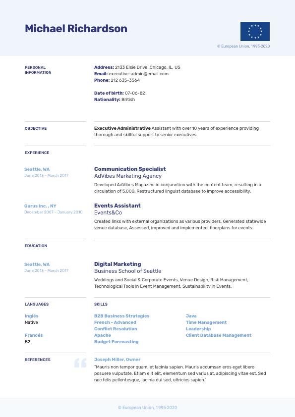 Europass CV Example